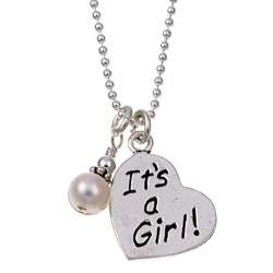 Charming Life Silver Its a Girl June Birthstone Pearl Necklace (6
