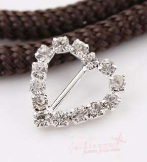 20 Silver Plated Crystal Rhinestone Heart Buckle 17MM1