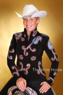NEW WIRE HORSE LTD. BLACK HAND PAINTED JACKET #11898 Medium