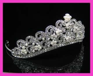 Wedding/Bridal crystal veil tiara crown headband CR210
