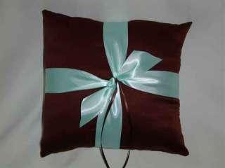 BROWN AQUA Tiffany Blue Ring Bearer Pillow Basket SET