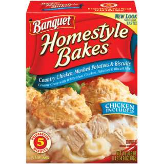 Banquet Homestyle Bakes Country Chicken Mashed Potatoes and Biscuits