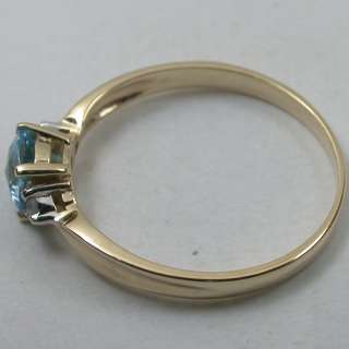 CARAT 14K SOLID YELLOW GOLD NATURAL SWISS BLUE TOPAZ SOLITAIRE DIAMOND