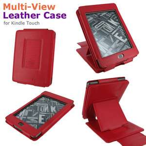 Multi View Leather Case Cover for  Kindle Touch Latest Model Red