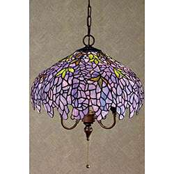 Tiffany Style Purple Stained Glass Hanging Lamp