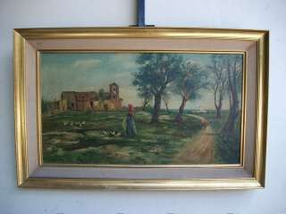 Great old oil on canvas landscape painting # 06604