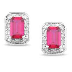 10k White Gold Created Ruby/ 1/10ct TDW Diamond Earrings (G H, I2 I3