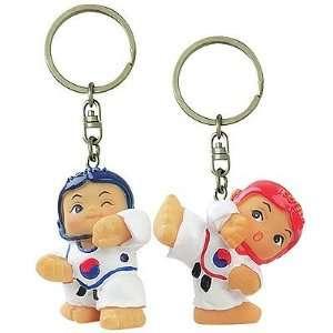 Silver J Taekwondo key ring gift set, sparring boy and girl