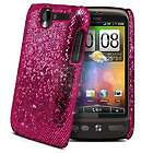 Hot Pink Sparkle Glitter Hard Case Cover For HTC Desire