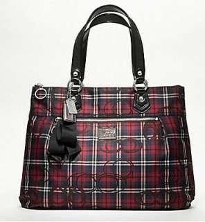 Coach 18713 Poppy Tartan Plaid Glam Tote Bag BLACK RED Multi Color NWT