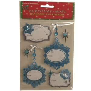 Blue Snowflake Handmade Holiday Gift Tag Stickers   Each