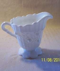 VTG FENTON EMBOSSED ROSE WHITE MILK GLASS PEDESTAL CREAMER