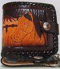 Genuine Leather Mens Black Western Texas Chain Wallet Tooled Stitched