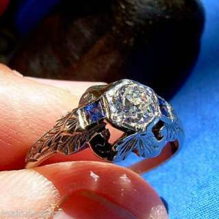 Genuine Antique Diamond Sapphire Engagement Ring Antique Deco