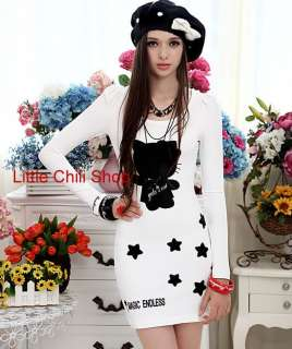 Fashion Kitty Cute DOLLY SWEET Princess Long Sleeve White DRESS Long