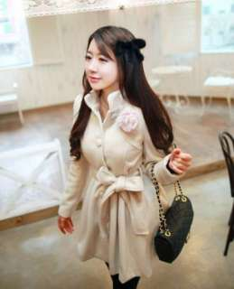 Korea Fashion Womens Stand Collar Single Breasted Slim Worsted Ladies