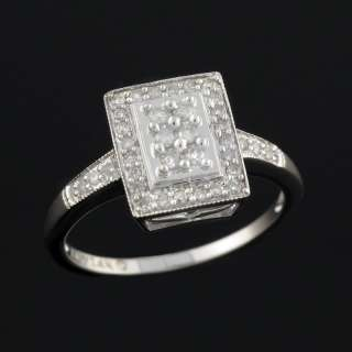 14K Womens White Gold Diamond Square Cluster Ring 1/2CT