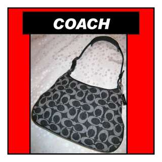 COACH Gray C Wool Fabric & Black Leather GIRLIE Hobo Shoulder Bag AUTH