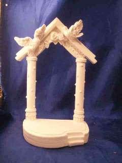 White Wedding Gazebo arch with doves poly resin 7.5