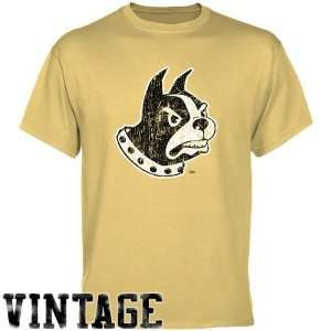 NCAA Wofford Terriers Light Gold Distressed Logo Vintage T