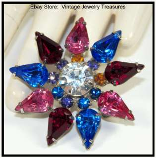 Fruit Salad Rhinestone Silver Pin Blue Red Purple Pink Amber