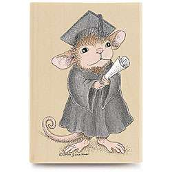 House Mouse The Graduate Wood mounted Rubber Stamp