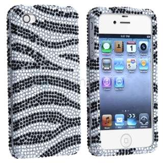 Black Zebra Bling Diamond Case Skin Cover+Screen Shield For iPhone 4 s