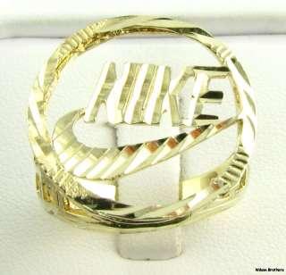 Fashion Ring   10k Solid Yellow Gold Diamond Cut Swoosh Sports