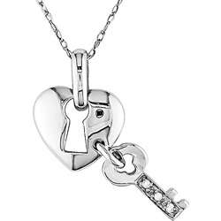 10k Gold Diamond Heart Lock and Key Necklace