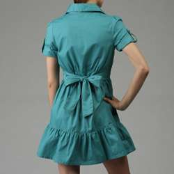 Last Kiss Womens Ruffle Front and Cuffed Short sleeve Shirtdress