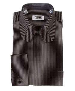 Steven Land Mens Black Pinstripe Dress Shirt |