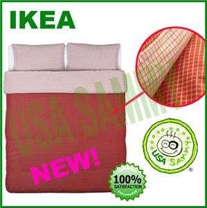 Ikea duvet cover pillowcase cotton modern grid Risp RED