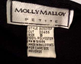 MOLLY MALLOY BLACK VELVET DRESS PETITE 8 8P M EUC LONG SLEEVE BIN