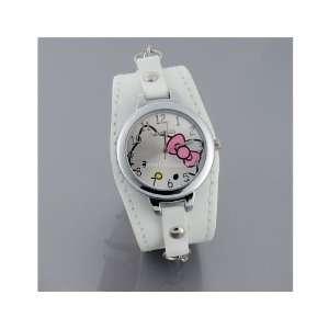 Round Dial Electronic Girls Kids Wrist Watch White