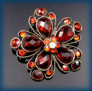 ADDL Item  antiqued rhinestone flower brooch pin bouquet