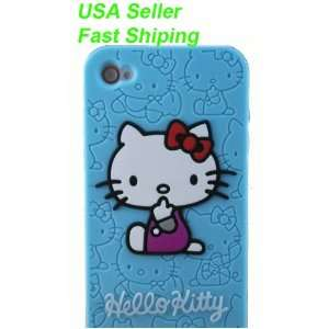Hello Kitty Embossed Silicone Case Cover Skin for Iphone 4