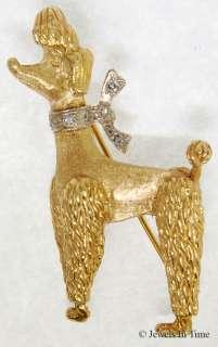 Ladies Poodle Pin 14k Yellow Gold & Diamonds