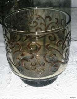 Vintage Smoke Glass Lace Pattern Libbey Juice Glasses