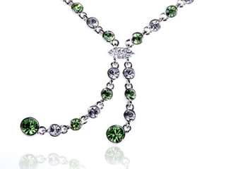 Peridot Green Clr Chain Link Tassel Scarf Swarovski Crystal Rhinestone