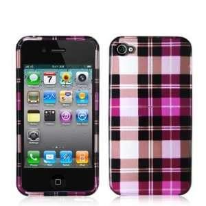 (TM) Brand   Hot Pink Checkered Design Crystal Hard Skin Case