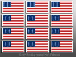 Sheet of 12 USA Helmet Flags Sticker  American us flag