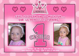 Prince Princess First Birthday Invitations   U Print
