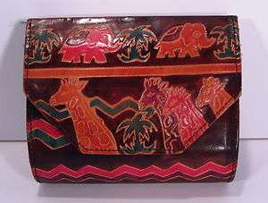 Emily Ann Boca Raton Hand Painted Tooled Leather Animal African Clutch