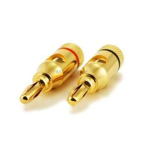 1 PAIR OF High Quality Copper Speaker Banana Plugs   Open