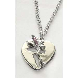 Tinkerbell Fairy Cut Out Heart Charm Necklace with Pink Crystal Wings
