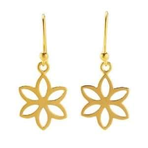 24K Gold Plated Sterling Flat Flower Earrings Jewelry