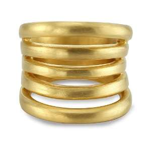 24k Gold Plated Sterling Silver Faux Stacked Rings Size 6