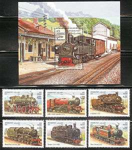 AFGHANISTAN 2001 TRAINS RAILROAD LOCOMOTIVES COMPLETE SET+SOUVENIR