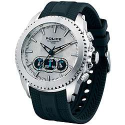 Police Mens Silver Tazer Chronograph Rubber Strap Watch