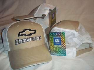 GM Chevrolet Chevy Hat Cap Logo Emblem Mesh Bowtie Tan White